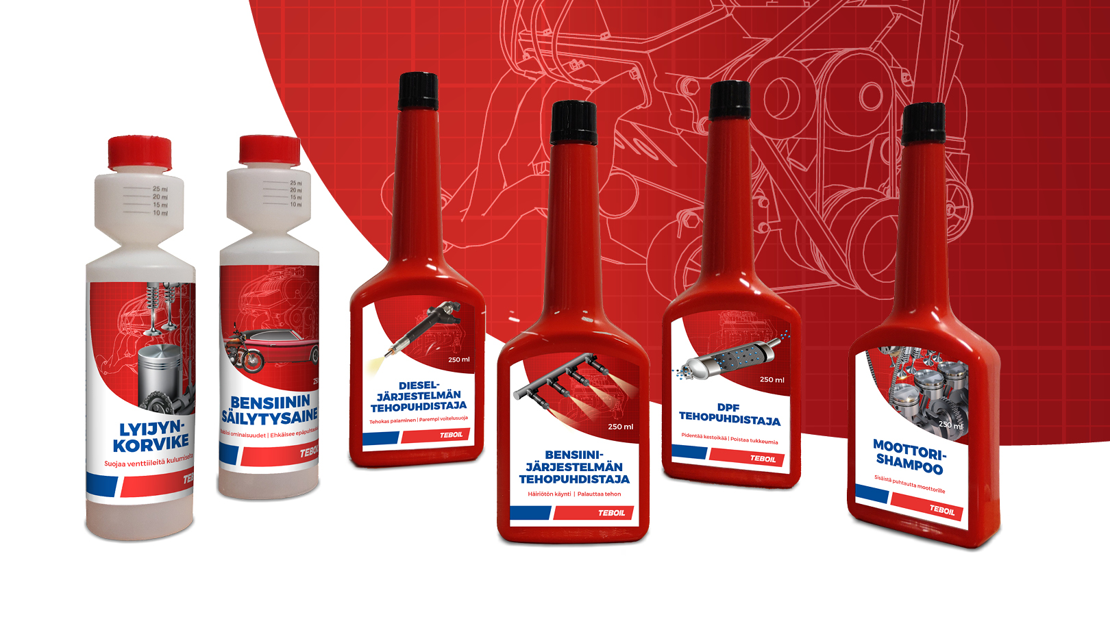 Teboil: Engine Oil Additives Packaging